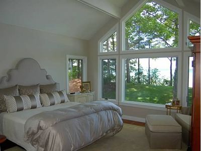 Elk Rapids house rental - sun dappled master bedroom is beyond king-sized!