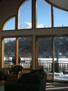 Wild Rose Chalet living/dining room view on a winter day