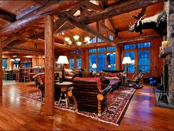 Rustic, Upscale Living Room with High Ceilings