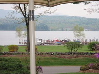 Laconia condo photo - View of boat docks from the patio. Relaxing.