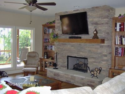 Living room gas fireplace with TV