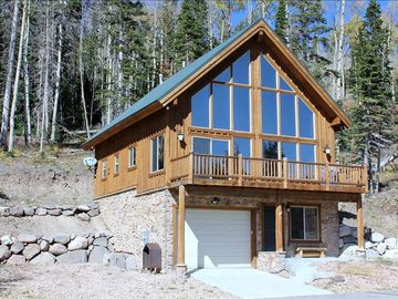 Summer (2012) view; new & cozy cabin nestled amongst evergreen pines/aspen trees