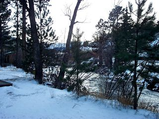 Estes Park cabin photo - Winter View of River & Mountains From Deck