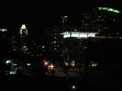 Enjoy the lights of 6th Street and downtown off the second floor balcony