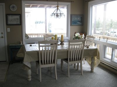 Dining room table overlooking beach and beach access