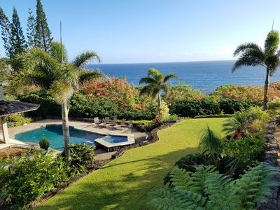 Stunning morning view over the ocean and pool from the Master Bedroom.