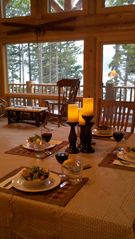 Gouldsboro cabin photo - Dining in the Great Room as gulls and eagles fly by...
