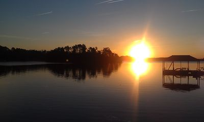 Beautiful sunrise over Lake Keowee, view from the dock