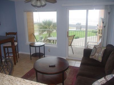 Living Room with nice view of seawall and Gulf.