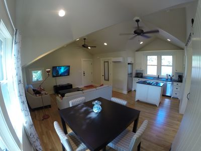 Living areas - wide-screen TV w/ HBO and Gigabit internet, dining area & kitchen