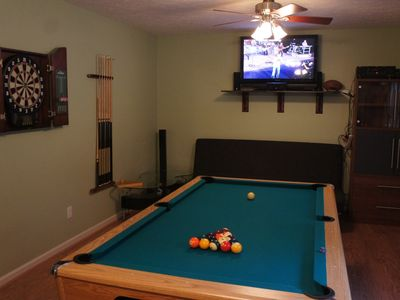 Play pool or darts while watching your favorite game.