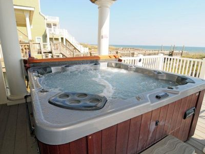 Hot tub with an outstanding ocean view