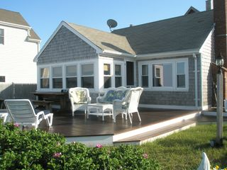 Marshfield cottage photo - Front deck facing ocean