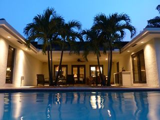 Boca Raton villa photo - Dolphin Retreat - Poolside at dusk.