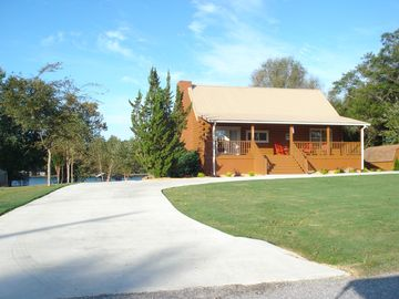 Weiss Lake cabin rental - Beautiful front view of 1055 Big Nose Drive, Centre AL -Directly on Lake Weiss!