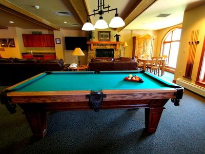 Lobby with TV, pool table and more Great area for kids to get away