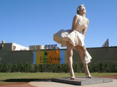 "26 foot,""Forever Marilyn"" by Sewart Johnson, now installed downtown Palm Springs"