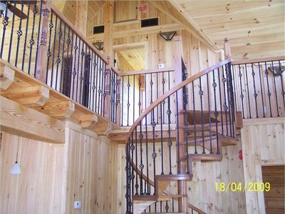 Spiral staircase to loft and to basement