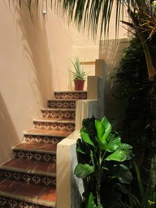 Staircase leading up to apartment.