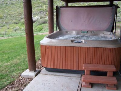 Bear Lake cabin rental - 5-6 Person Jacuzzi is on the patio & has a great view of Bear Lake