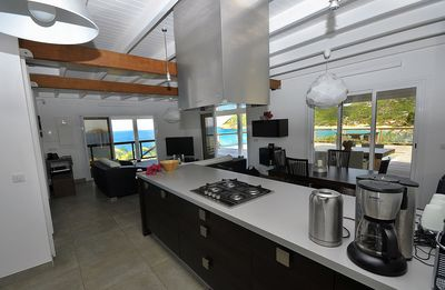 View from the kitchen, a panoramic view of Flamands beach. Cook and dreaming...