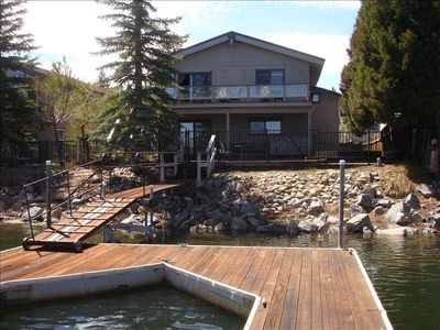 View from Boat Dock, Boat dock fits up to 30' boat. Fish and swim off dock.