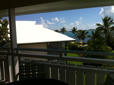Lanai overlooks gardens, pool and out to the ocean!