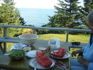Pemaquid Point cottage photo - Have your dinner on the deck