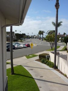 View from condominium walkway toward the short walk to the beach!