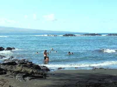 Swimming along the coast, black sandy beaches