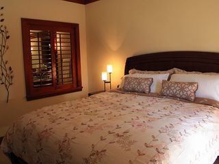 Ko Olina villa photo - Master bedroom with luxury mattress & linens and private door to lanai