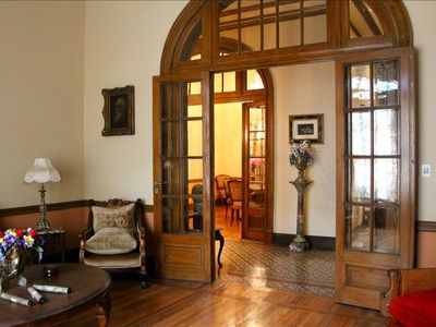 Beautiful wood arch doors to the living room, dining room and hallways.