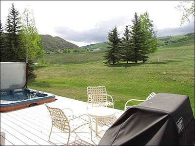 Deck with Hot Tub, BBQ and golf course and mountain views