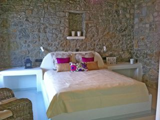 Mykonos villa photo - Upper level bedroom with large private veranda and majestic views