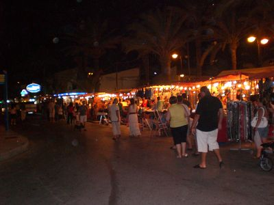 La Manga Strip apartment rental - Local evening 'hippy' market surrounded by bars and restaurants (4 min walk)