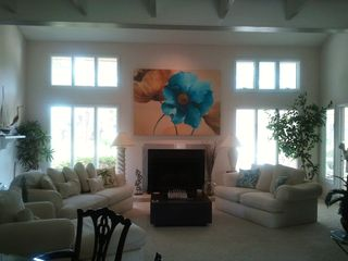 Ponte Vedra Beach condo photo - 2 sofas, large chaise and wood burning fireplace