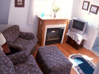 Avon-by-the-Sea house photo - Sitting room off queen bedroom on third floor with fireplace