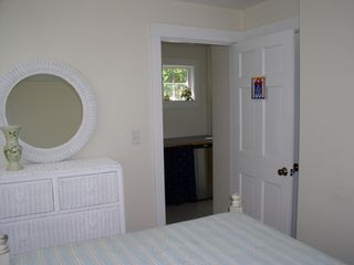 Oak Bluffs house photo - in-law double bed BR, double windows to left, peek at kitchenette