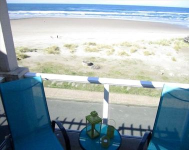 View of the sandy beach from one of the three patios / decks