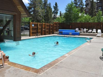 Upper Village heated swimming pool, 1 minute walk away