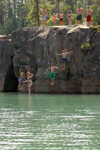 Jumping from Whiskey Rock in the North Channel, St. Joseph Island
