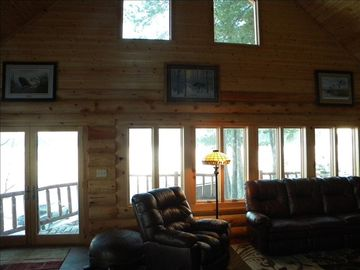 Lake views from three sides of cabin in all rooms. Lg deck off great rm and dock