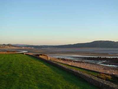 Llandudno chalet rental - Evening estuary view, low tide.