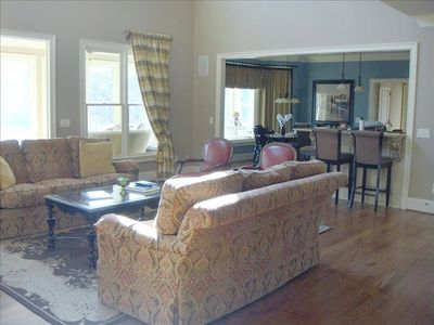 Dawsonville house rental - Family Room open to Breakfast Rm and Kitchen