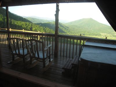 Wears Valley cabin rental - You see ridge after ridge -- even into Cades Cove & Rocky Top mountain
