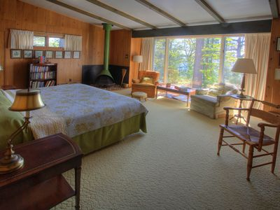 Master bedroom in main cabin. Has king size bed.