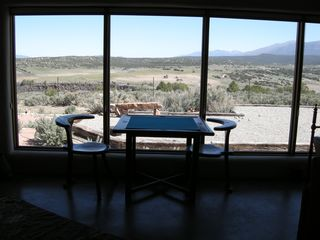 Taos house photo - Game Table in Study set in front of Big View Windows