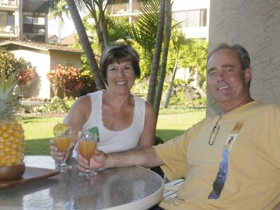 Your hosts Kim and Mary enjoying a mai-tai on the lanai