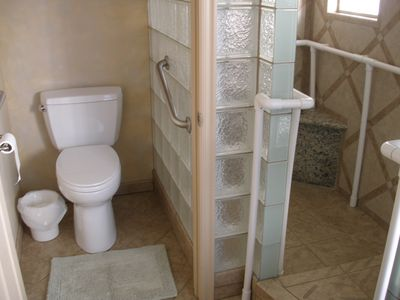 Master water closet with shower and continuous grab bar in glass block shower
