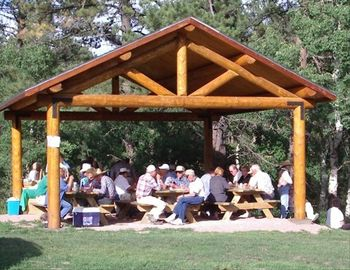 Picnic shelter complete with gas barbeque is available for group get-togethers.